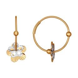 Серьги конго из комбинированного золота с алмазной гранью