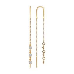 Серьги-цепочки из золота с тремя фианитами