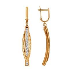 Серьги длинные из золота с алмазной гранью с фианитами
