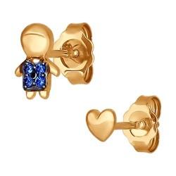 Серьги-пусеты из золота с синими фианитами