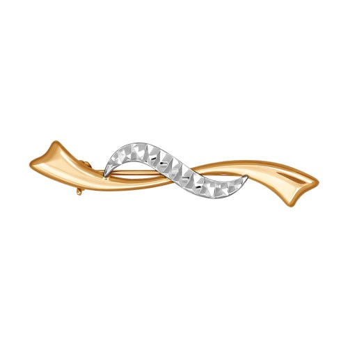 Брошь из комбинированного золота с алмазной гранью