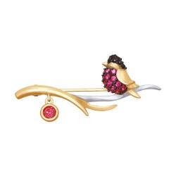 Брошь из золота с красными корунд (синт.) и красным и чёрными фианитами