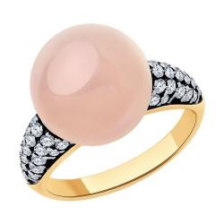 Кольцо из золочёного серебра с золочением и родированием с кварцем и фианитами