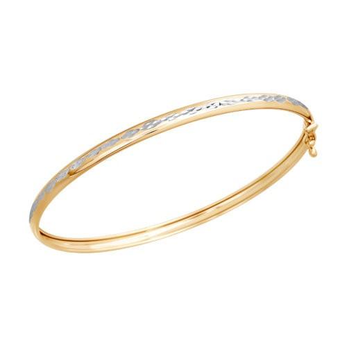 Браслет жёсткий из золота с алмазной гранью