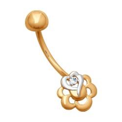 Пирсинг из золота с фианитом
