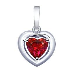 Подвеска из серебра с красным Swarovski Zirconia