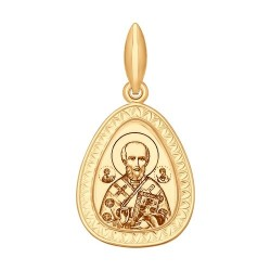 Иконка из золота с лазерной обработкой и эмалью