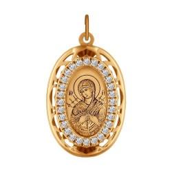 Иконка из золота с лазерной обработкой с фианитами