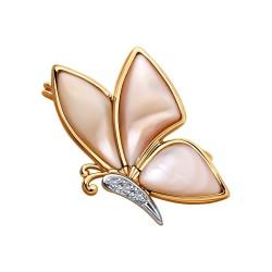 Брошь из золота с бриллиантами и розовыми