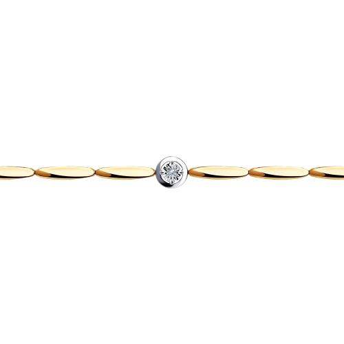Браслет из комбинированного золота с бриллиантом