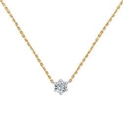 Колье из комбинированного золота с алмазной гранью с бриллиантом