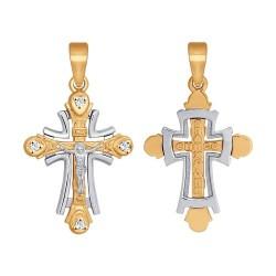 Крест из комбинированного золота с фианитами