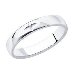 Кольцо из серебра с родированием с бриллиантом