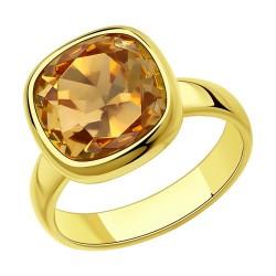 Кольцо из золочёного серебра с кристаллом Swarovski