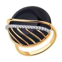 Кольцо из золочёного серебра с агатом и фианитами