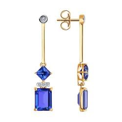 Серьги из золота с бриллиантами и топазами Swarovski