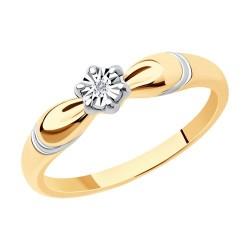 Кольцо из золочёного серебра с золочением и родированием с бриллиантом
