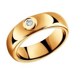 Кольцо из золота с бриллиантом и керамической вставкой