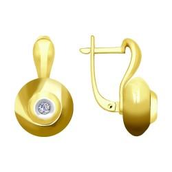 Серьги из желтого золота с бриллиантами и керамическими вставками