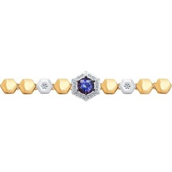 Браслет из комбинированного золота с бриллиантами и танзанитом