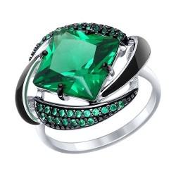 Кольцо из серебра с эмалью с зелёным ситаллом и зелеными фианитами