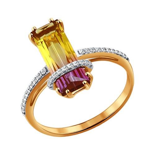 Золотое кольцо с аметрином (синт.)