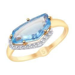 Кольцо из золота с голубым ситаллом и фианитами