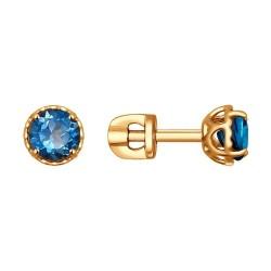 Серьги-пусеты из золота с синими топазами