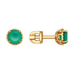 Серьги-пусеты из золота с зелёными агатами