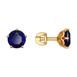 Серьги-пусеты из золота с синими корунд (синт.)