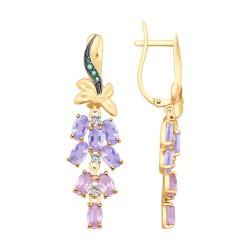 Серьги из золота с аметистами и голубыми ситаллами