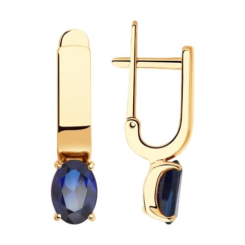 Серьги из золота с синими корундами