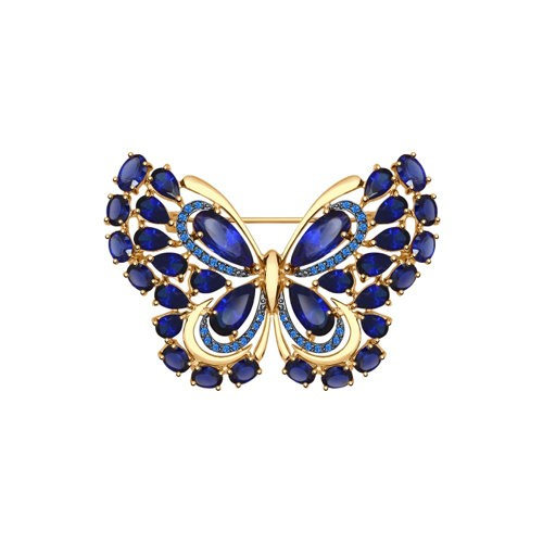 Брошь из золота с корундами сапфировыми (синт.) и синими фианитами
