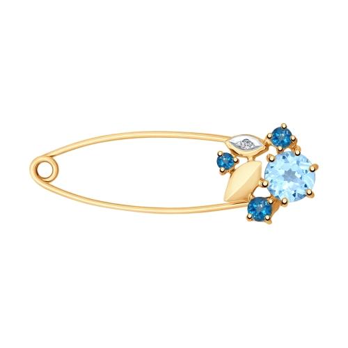 Брошь из золота с голубым и синими топазами и фианитом