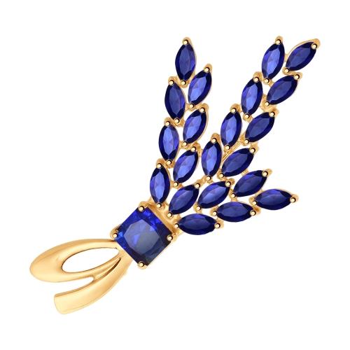 Брошь из золота с синими корунд (синт.)