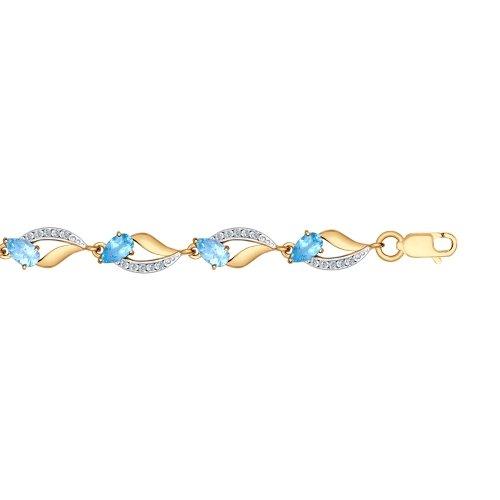 Браслет из золота с голубыми топазами и фианитами