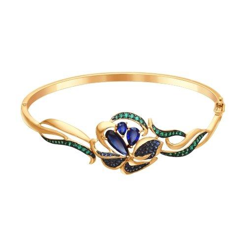 Браслет из золота с корундами сапфировыми (синт.) и зелеными и синими фианитами