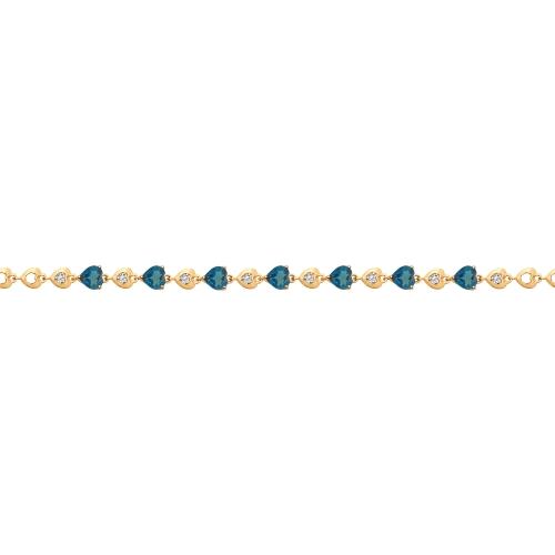 Браслет из золота с синими топазами и фианитами