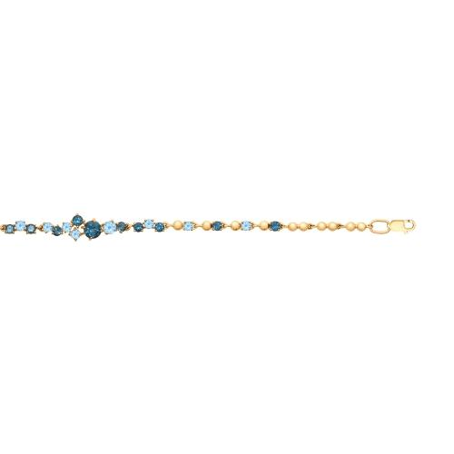 Браслет из золота с голубыми и синими топазами