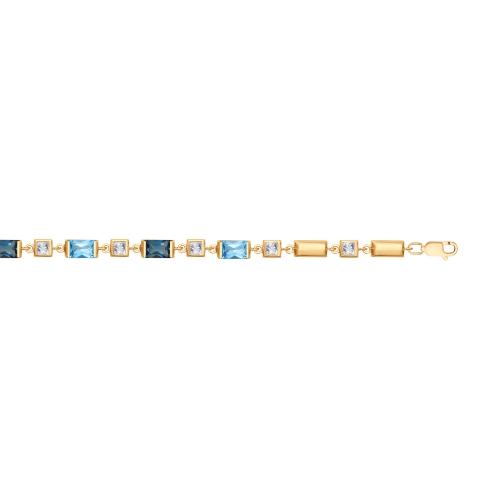 Браслет из золота с голубыми и синими топазами и Swarovski Zirconia