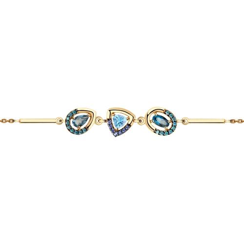 Браслет из золота с голубым и синими топазами и фианитами