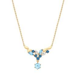 Колье из золота с голубыми и синими топазами и фианитами