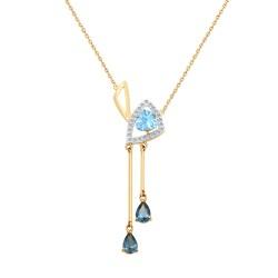 Колье из золота с голубым и синими топазами и фианитами