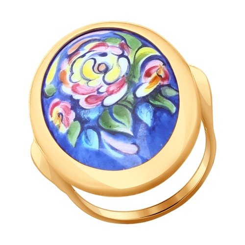 Золотое кольцо с цветочной финифтью