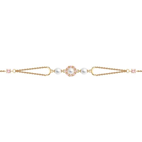 Браслет из золота с жемчугом и розовыми ситаллами