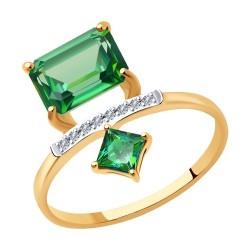 Кольцо из золота с бриллиантами и топазами Swarovski
