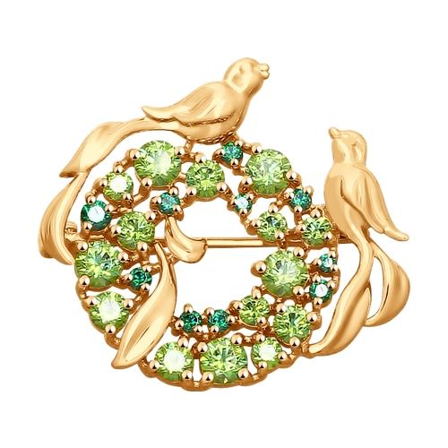 Брошь из золота со Swarovski Zirconia и фианитами