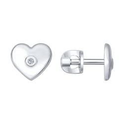 Серьги-пусеты из серебра с бриллиантами