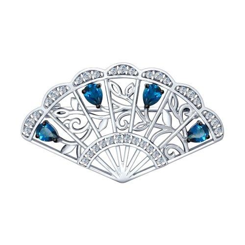 Брошь из серебра с синими топазами и фианитами