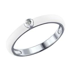 Белое кольцо из серебра с эмалью и фианитом